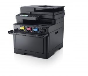 Dell H625cdw (Merlin ) Multi-Function printer, scanner, and copier with front panel open to reveal toner cartridges. © Dell