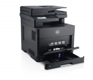 Dell H825cdw (Goshawk Cloud) multi-function printer, shown with front printer tray open © Dell